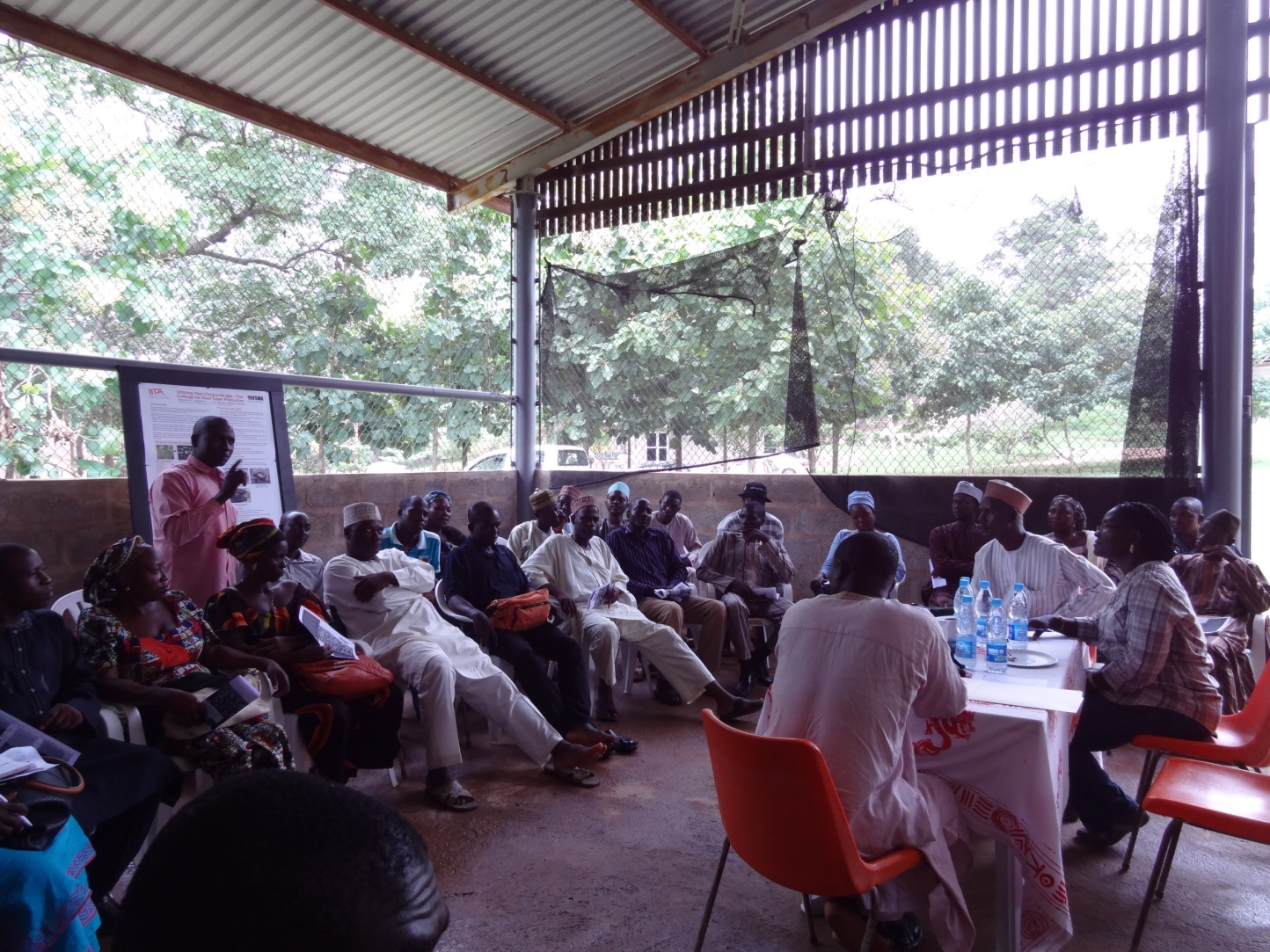 Extension agents brainstorm on possible reasons for low adoption of the minisett technique of seed yam production technology.