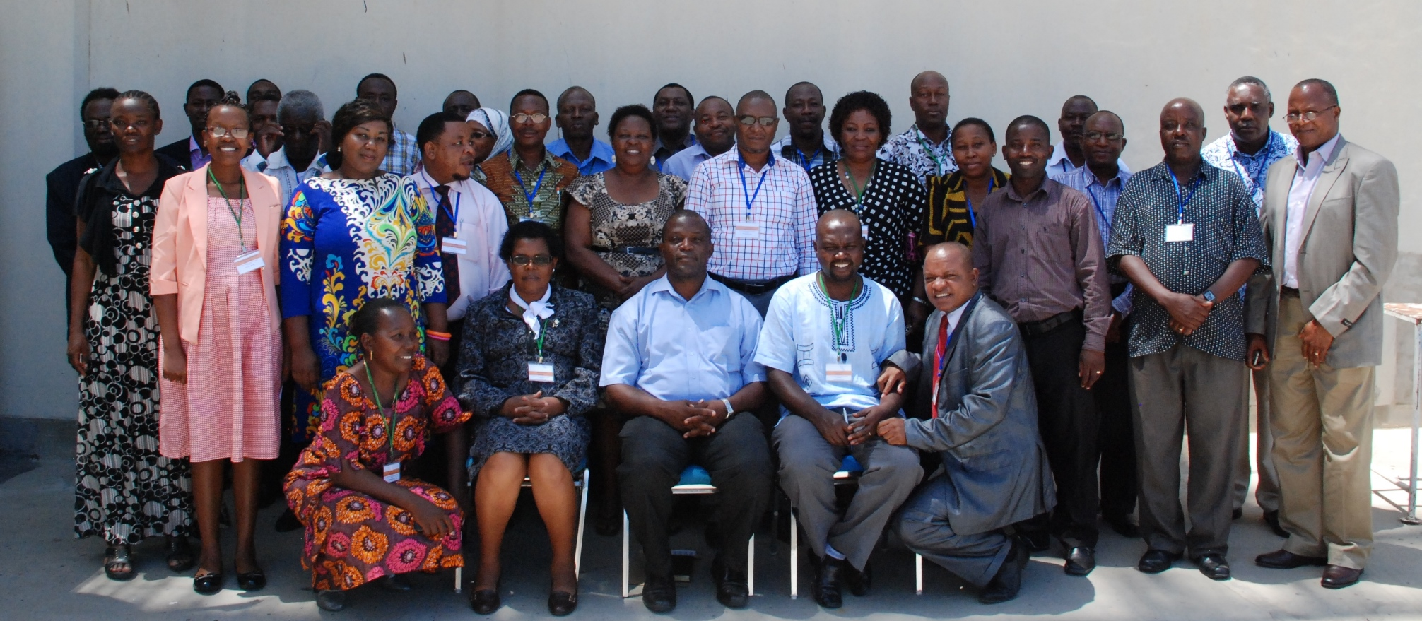 Climate change actors from governmental and non-governmental organizations present at the workshop. At the centre (in a blue shirt) is the guest of honor, Dr Julius Ningu,  the Director for Environment at the Vice Presidents' Office.