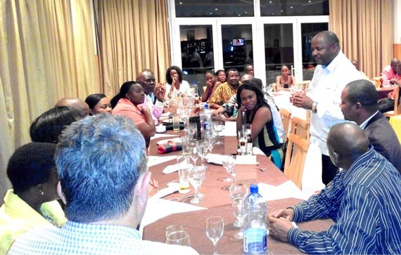 The DG in a pow-wow with IITA-Mozambique staff at a dinner hosted in his honor at a hotel in Nampula