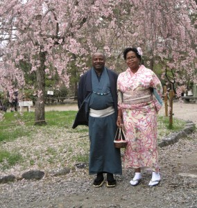 Picture of Dr and Mrs Sanginga wearing the traditional  Japanese kimono