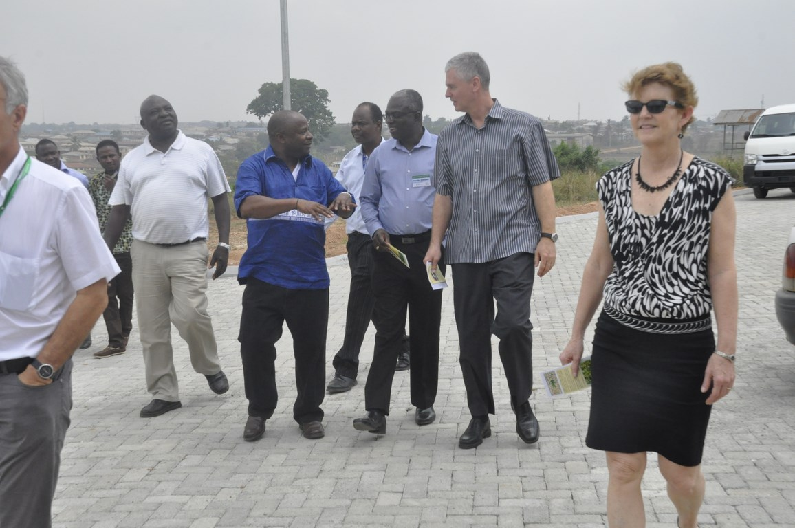 DG Sanginga (second from left) tours the BIP with Frank (second from right) and other guests.