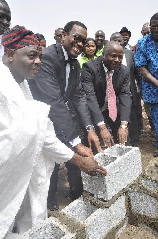 Akinwumi Adesina, Minister of Agriculture (in glasses, center) and DG Nteranya Sanginga (in pink tie) with guests during the stone-laying ceremony in IITA. Abuja.