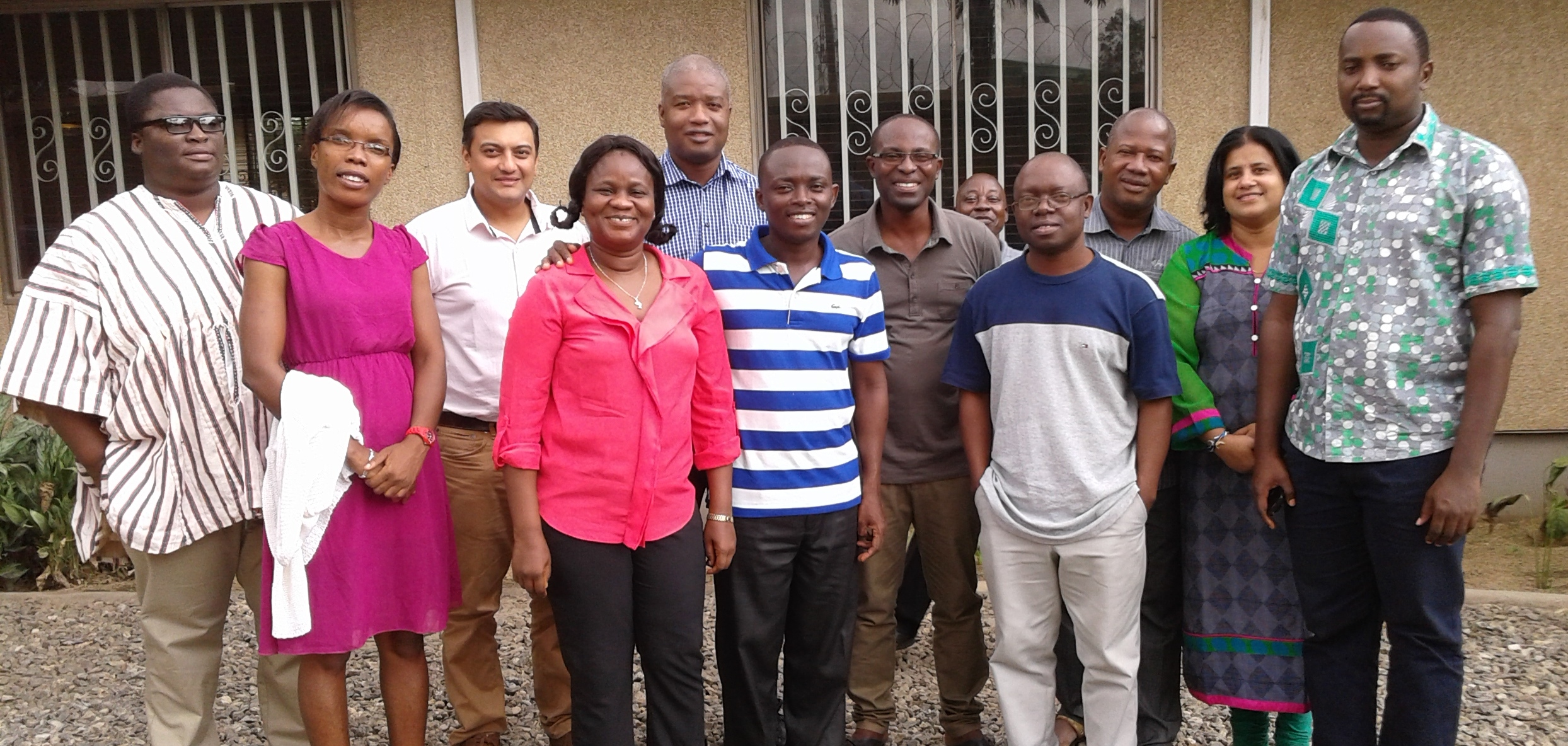 Researchers working on cocoa initiative meet at the IITA Ikeja Guest House facilities.