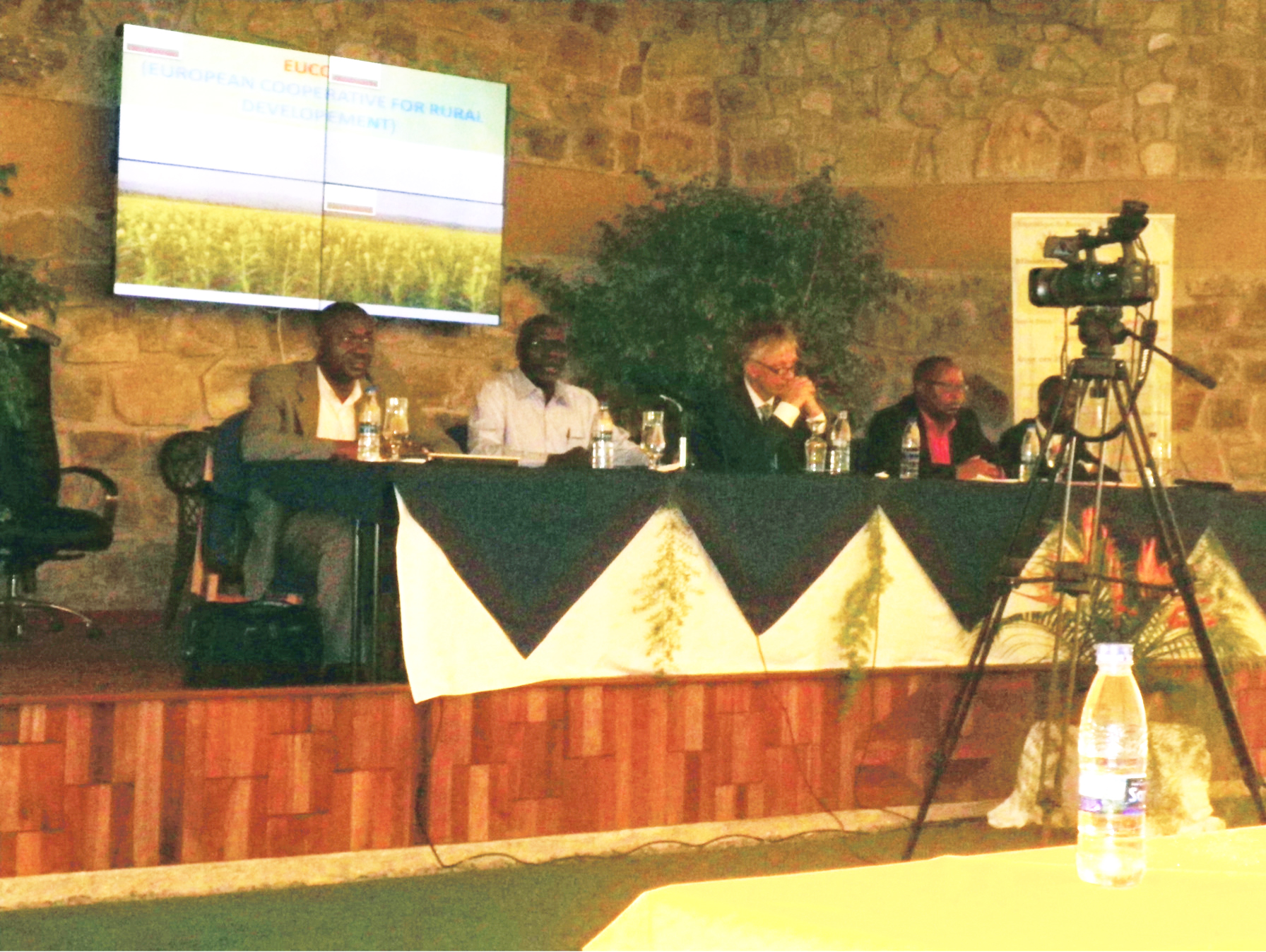 Forum panelists including IITA's Dr Emmanuel Njukwe on the far left.
