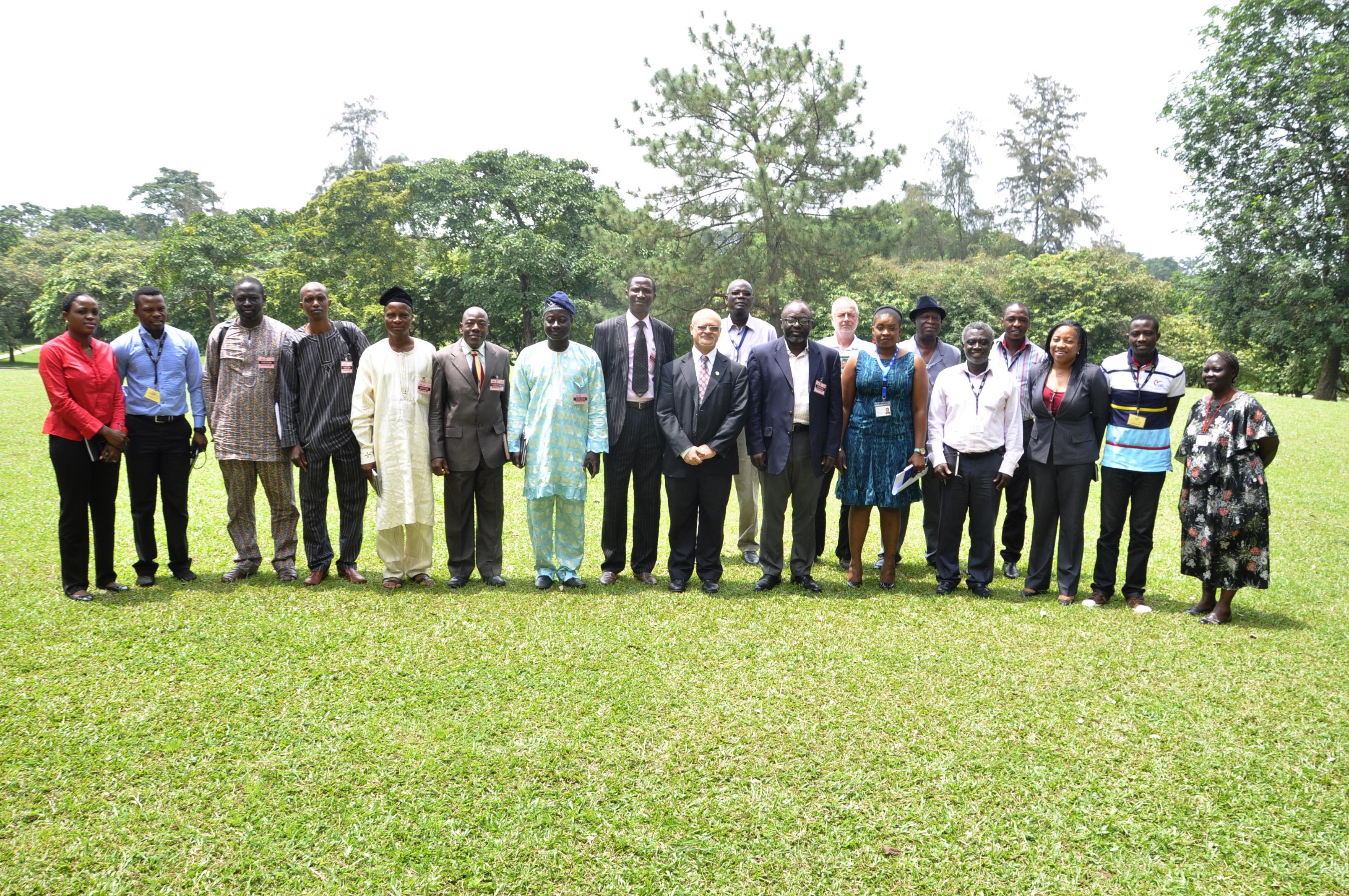 The delegates from the State of Osun (third-eighth and eleventh from left) flanked by IITA scientists and members of staff.