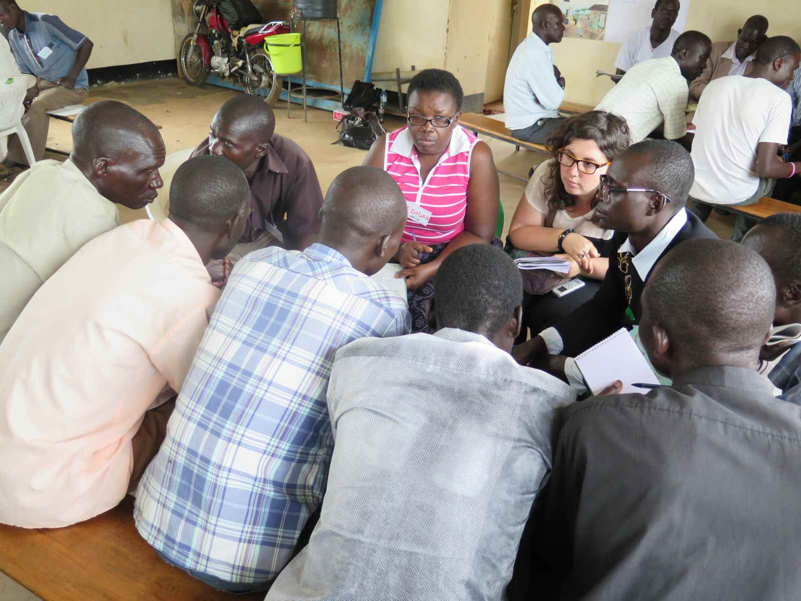 The research team conducting focus groups discussions with men and women in the two districts.